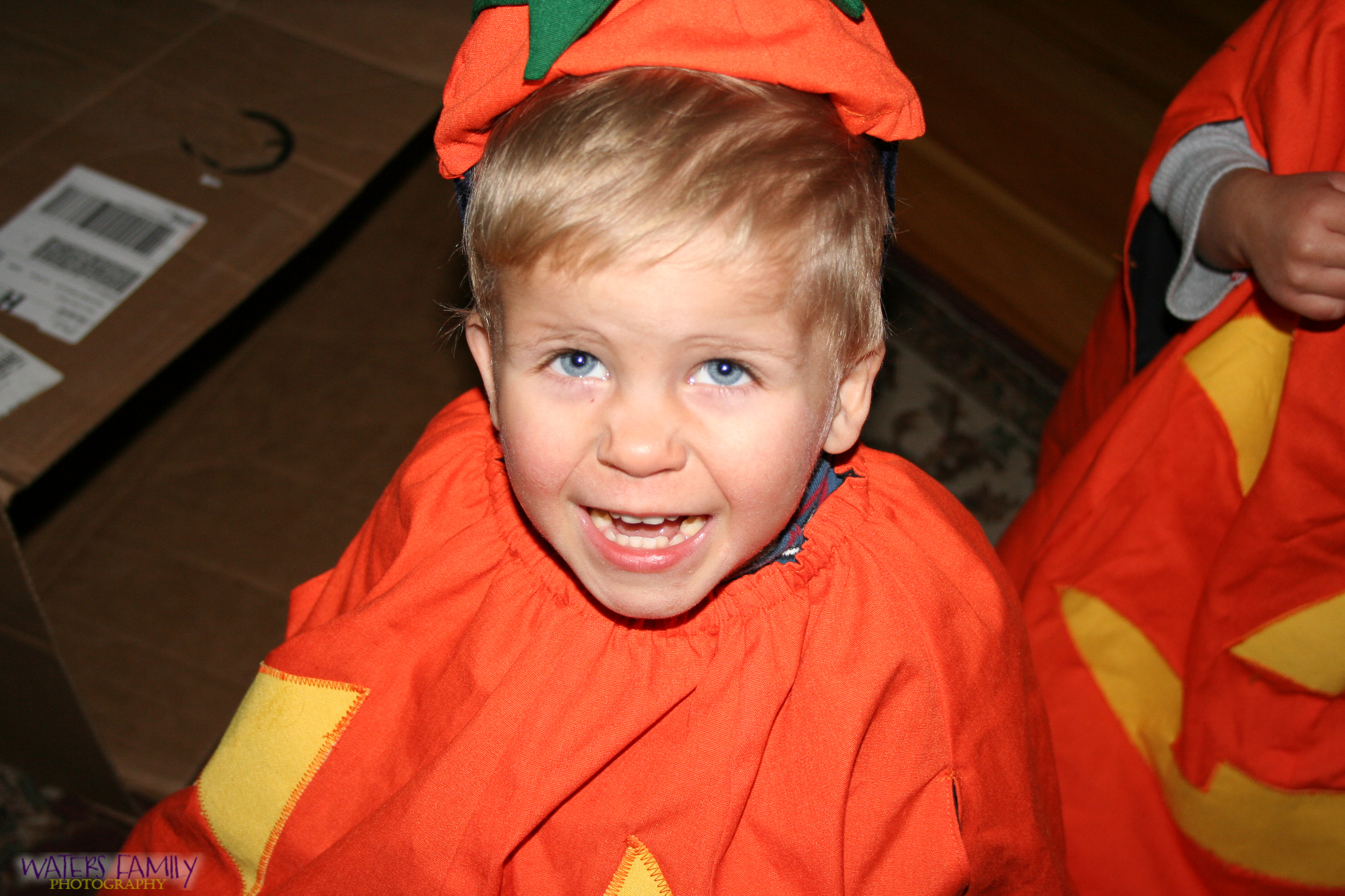 Alex is excited about his pumpkin costume