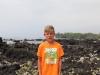 Alex hiking the lava field