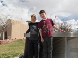 Evan and Alex looking at one of the dam impellers